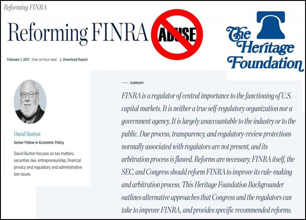 Lying, Cheating, Stealing, Explosive Heritage Foundation Report Exposes FINRA, FINRA NAC Regulatory Abuses