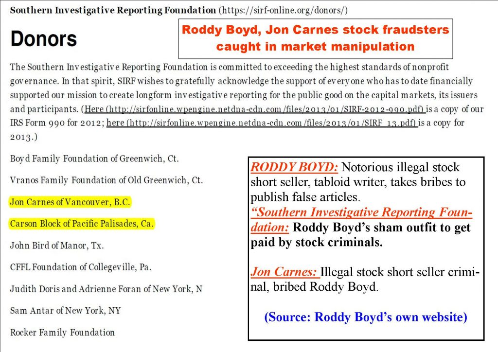 RODDY BOYD, JON CARNES, DUNE LAWRENCE, SAMANTHA BOYD, LAURA BOYD ILLEGAL SHORT SELLING FRAUD