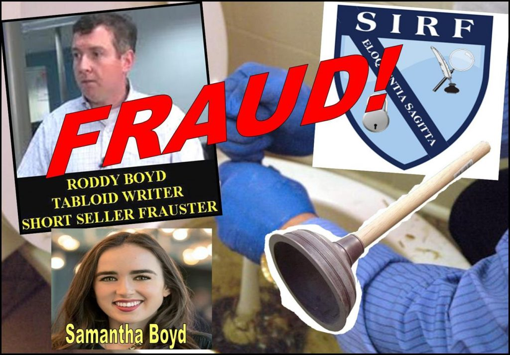 Tabloid Writer Roddy Body, SHAM Southern Investigative Reporting Foundation, A Plunger In A Clogged Toilet