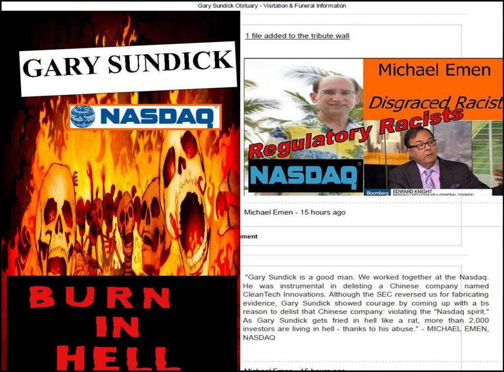 GARY SUNDICK, NASDAQ, funeral, obituary, cancer, Marsha Sundick, Amy Bruce, Suzy Balamaci, Roy Sundick, Michael Emen, Gayle Emen, Edward Knight, William Slattery, racist, delisting, listing, fraud, lawsuit