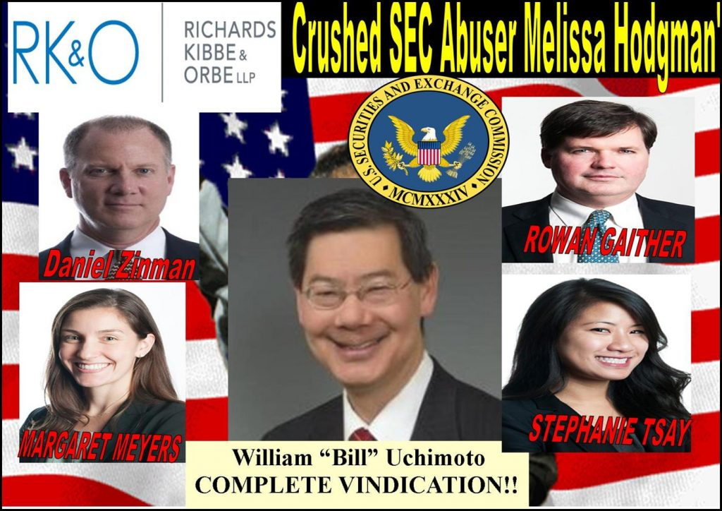 MELISSA HODGMAN, Joshua Braunstein, SEC enforcement defeat, William Uchimoto, Vindicated, RK&O, DANIEL ZINMAN, ROWAN GAITHER, MARGARET MEYERS, STEPHANIE TSAY, Richards Kibbe, Greg Miller, Buchanan Ingersoll