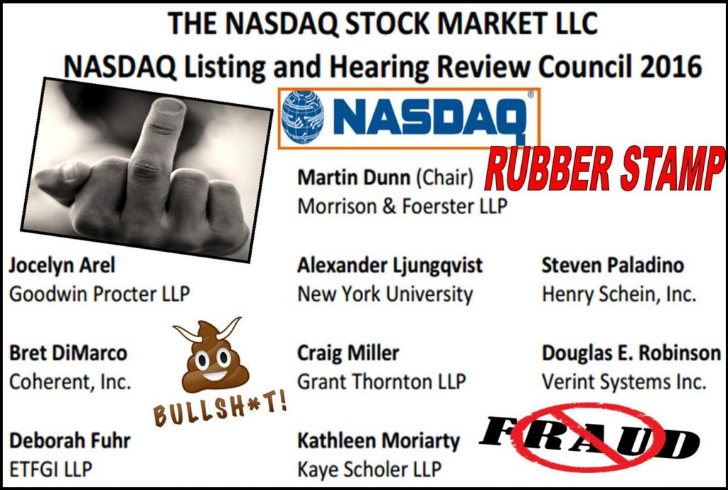 Nasdaq, Nasdaq Listing and Hearing Review Council, Nasdaq Hearing Panel, Ed Knight, Alan Rowland, Gary Sundick, Michael Emen, Amy Horton, William Slattery, Craig Miller, Grant Thornton, Steven Susswein, SEC