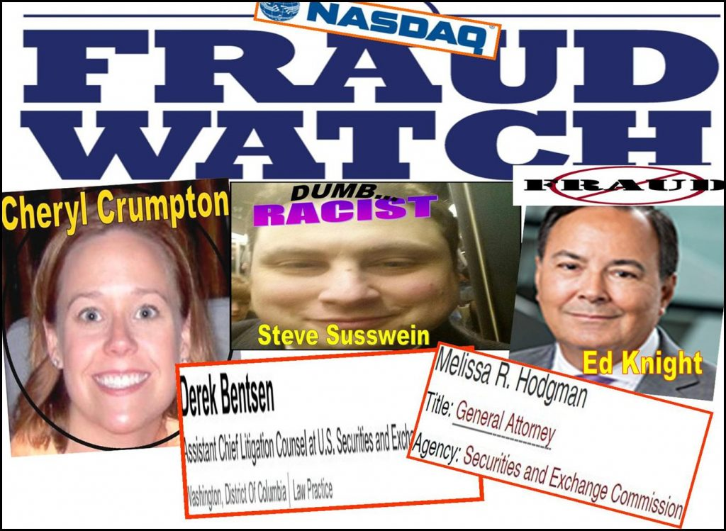 CHERYL CRUMPTON, STEVEN SUSSWEIN, PATRICK FEENEY, MELISSA HODGMAN, DEREK BENTSEN, JOSHUA BRAUNSTEIN, STEPHANIE AVAKIAN, SEC enforcement, Ed Knight, Nasdaq, Bernie Madoff, Daniel Zinman, fraud