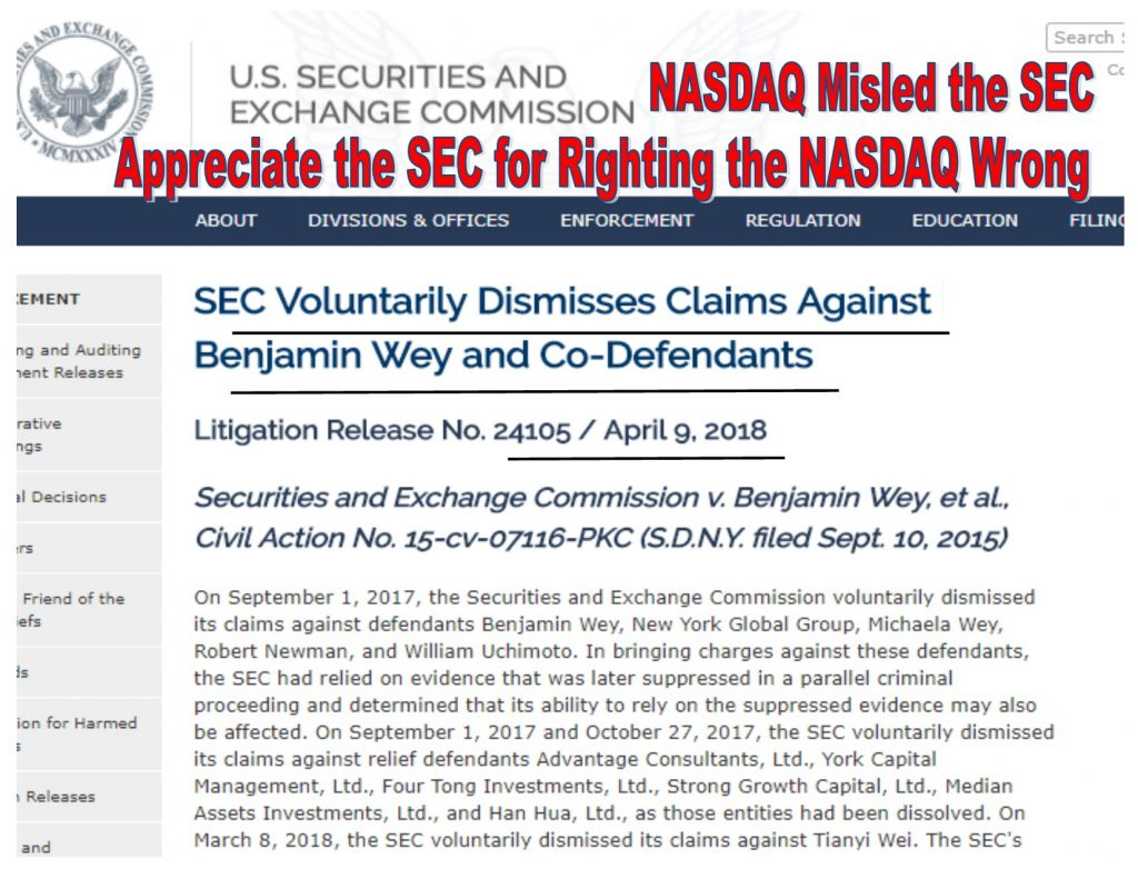 SEC Voluntarily Dismisses All Charges Against Benjamin Wey, Blames NASDAQ for Misleading the Government