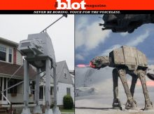 Crazy Ohio Man Builds 2-Story Star Wars AT-AT in Front Lawn