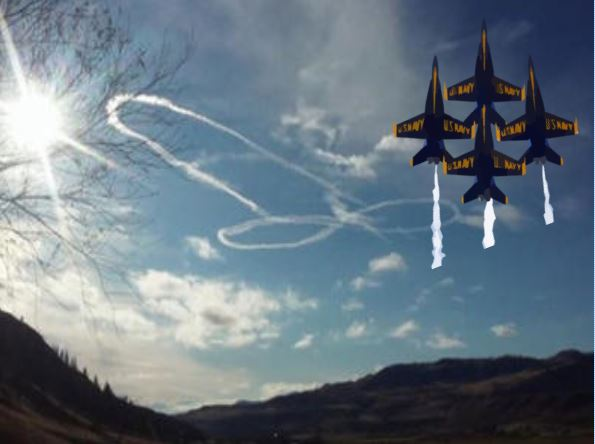 Navy Pilot Draws Giant Cock Pit in the Sky