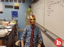 Teacher in Iron Man Mask Distracts Students as He Grades
