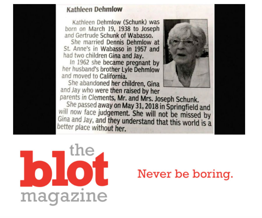 Bitterness Exposed in Obit for 80-year-old Kathleen Dehmlow