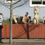 Neighbor Forced to Shorten Fence Revenge by Naked Mannequins