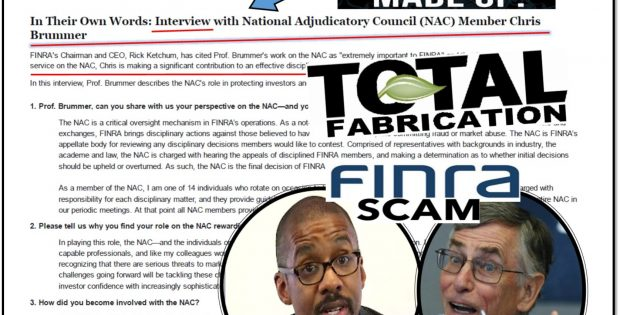 BRREAKING NEWS, FINRA Put Up Fake NAC Member Chris Brummer Interview on Official Site, Former CEO Richard Ketchum Caught Whitewashing Rigged FINRA NAC Hearings