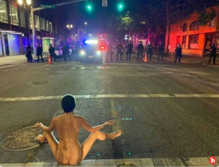 Naked Athena Bares All to Feds in Portland, Feds Shoot Pepper Balls at Her Feet
